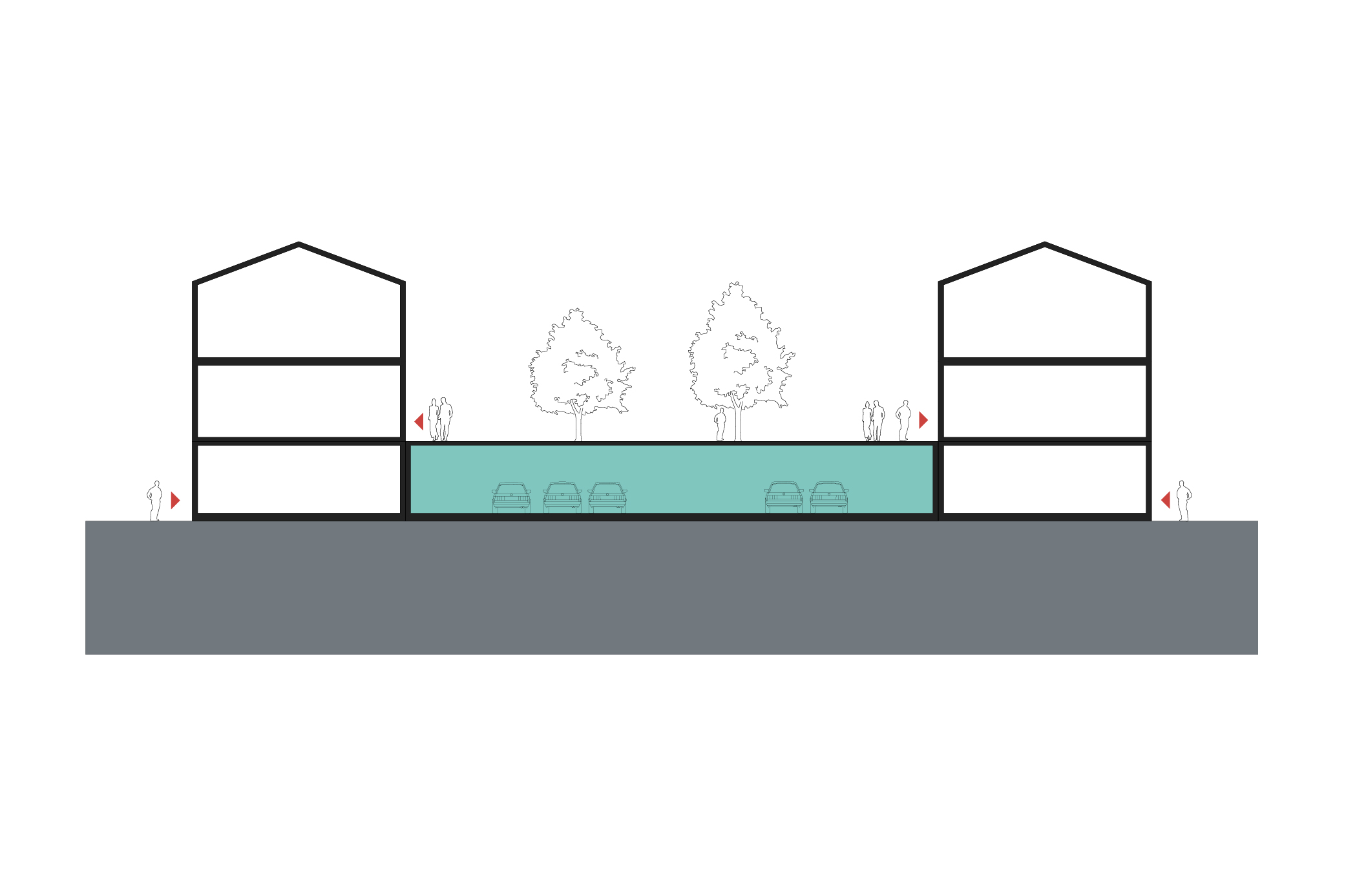 Design of basement car parking - Parking Grouped Between The Buildings In A Podium Arrangement With Either Communal Or Private Open Spaces Above It